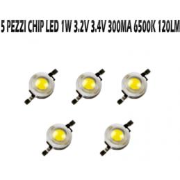 5x Chip led 1W bianco...